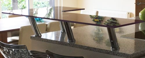 photo of a purple raised glass breakfast bar