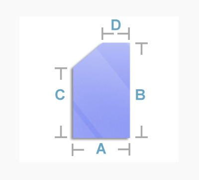 dimensional diagram of a left top angled shape