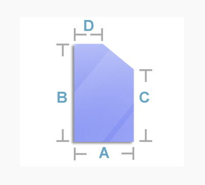 dimensional diagram of a right angled top shape