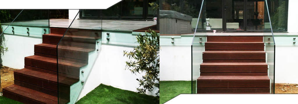 two images side by side of some outdoor glass balustrading fitted to a staircase opening up into a garden