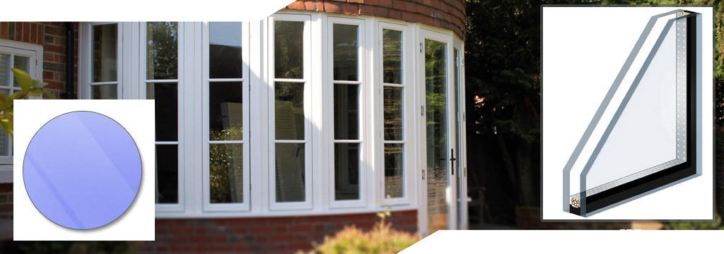 wide shot of double glazing installed into a bay window with white upvc frames showing a preview of a circular sealed unit