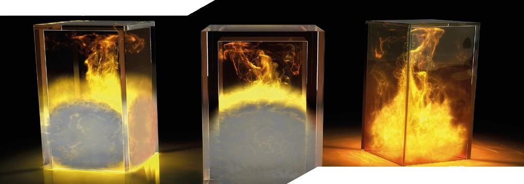 fire shown inside of boxes made of fire rated glass