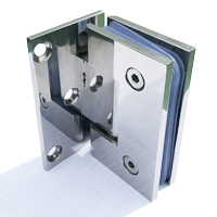 chrome finished wall hinge for glass showing rubber inserts