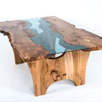 image of a glass river table, produced using Blue Tinted glass