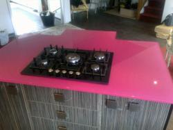 Pink Countertop made to suite existing hob installation.